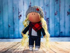 Items similar to Doll Lilya. on Etsy La Petite Collection, Crochet Hats, Toy, Textiles, Dolls, Trending Outfits, Handmade Gifts, Interior, Vintage