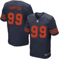 Chicago Bears #99 Dan Hampton Navy Blue With Orange Retired Play