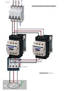 Esquemas eléctricos: inversor de giro de motor asincrono trifasico de p...