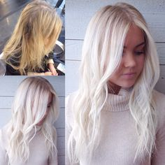 Brassy partial to icy Elsa blonde with soft rootiness.