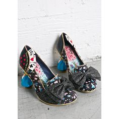 Irregular Choice Wonderland This Way Heels (310 CAD) ❤ liked on Polyvore featuring shoes, pumps, embroidered shoes, black pumps, glitter shoes, kohl shoes and bow shoes