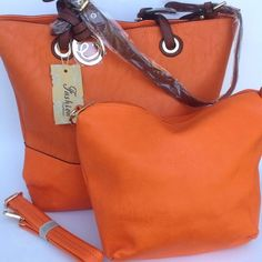 "SALE Orange Shoulder Bag & Cosmetic Bag 2-in-1 One of fashion golden rules is that the perfect accessory is key to completing a chic look. Fabric lined interior with cell pocket , zip pocket , and multifunction pockets. Adjustable & removable strap measures up to 44""L. MKF Bags Shoulder Bags"