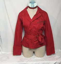 Cabi Belted Fitted Jacket Red Casual Long Sleeve Blazer Coat Layer Fall S #401 #Cabi #BasicJacket