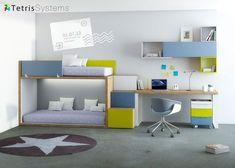 Dormitorio juvenil: Litera Rubbik con escalera-contenedor y escritorio | Dormitorio infantil equipado con una Litera RUBBIK con escalera de 3 peldaños y zona de estudio con