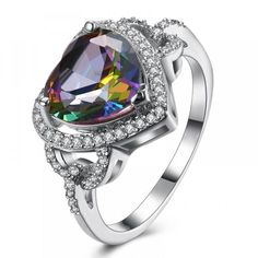 Shop today for Mystic Topaz Heart Shaped Ring in White Gold. Weight (grams): Metal Type: White Gold Plated Genuine Mystic Topaz Gemstone Made to Last a lifetime Guaranteed to retain its color and shine Hypoallergenic Square Halo Engagement Rings, Engagement Rings Cushion, Halo Rings, Solitaire Engagement, Heart Shaped Rings, Mystic Topaz, Rings Online, Love Ring, Topaz Gemstone