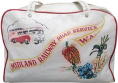 Midland Railway of Western Australia promotional luggage bag for their wildflower tours by bus.