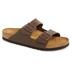 Birkenstock 'Arizona' Slide Sandal ($100) ❤ liked on Polyvore featuring shoes, sandals, dark brown, birkenstock footwear, birkenstock, dark brown shoes, synthetic shoes and rubber sole shoes