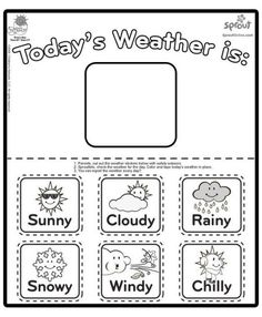 weather calendar coloring sheets free online printable coloring pages, sheets for kids. Get the latest free weather calendar coloring sheets images, favorite coloring pages to print online by ONLY COLORING PAGES. Weather Worksheets, Weather Activities, Preschool Worksheets, Preschool Activities, Weather Chart For Preschool, Teaching Weather, Teaching Kids, Kids Learning, Weather Calendar