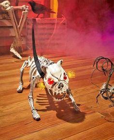 Halloween Skeleton Dog Barking Scary Decorations Light Eyes Monster Life Size…
