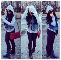 Fall Fashion = Leggings or skinnies + hooded sweater + vest