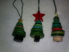 Button christmas trees hand made by jane
