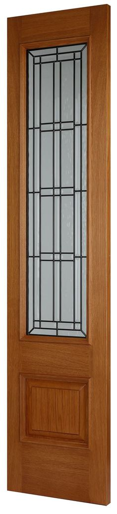 ILIS SIDELIGHT - Part of our new statement making Oak front door range which has been designed to add extra wow factor to the entrance of any home. The door is solid in construction and features heavy decorative raised mouldings and leaded double glazed units. Supplied factory clear satin lacquered but can be stained darker or painted by one of our paint professionals. Oak Front Door, Timber Door, External Doors, Wow Products, Entrance, Garage Doors, Exterior, Colours, Outdoor Decor