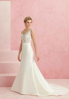 Structured Matte Satin Gown with Flared Skirt | Beloved by Casablanca Bridal BL230 Darling | http://trib.al/xG2bJlr