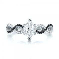 Custom Black and White Diamond Engagement Ring