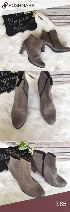 Cute Grey Leather Booties Fidji Excellent condition! Very beautiful booties! That are perfect for fall. A beautiful grey, very nicely made with genuine leather. SZ 39 or 6 1/2.  Comes from smoke free home.  Bundled discounts. Ships same or next day. Offers welcome. No lowballs. FIDJI Shoes Ankle Boots & Booties