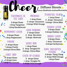 With a sunshiny, optimistic aroma, doTERRA Cheer can counteract negative emotions and provide a boost of happiness and positivity when you are feeling down. Here are some #diffuserblends using #doTERRA cheer!