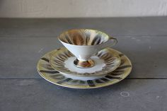 Vintage Porcelain  Cup Saucer Plate with Golden by maintenant, $35.00