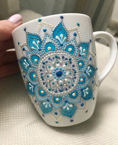 Mandala Art Mug/ Coffee Mug/ Unique Coffee Mug/ Ceramic Mugs/ Cute Mugs/ Tea Mugs/ Coffee Lover Gifts/ Art Print Mug/Snow mug - - Wonderful mug with gentle blue mandala on it. Don't wash in dishwasher machine. Painted Coffee Mugs, Hand Painted Mugs, Unique Coffee Mugs, Mandala Art, Ceramic Cafe, Ceramic Mugs, Ceramic Bowls, Dot Art Painting, Ceramic Painting