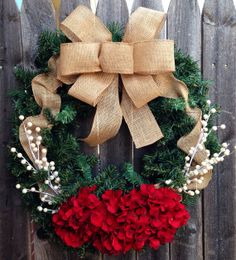 Christmas Wreath with Red Hydrangea Flowers and Burlap