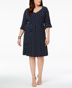 Image 1 of Connected Plus Size Bell-Sleeve Polka Dot Dress