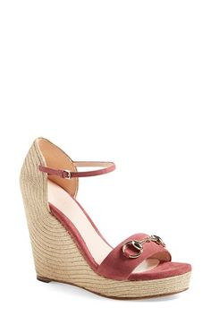 Gucci Gucci 'Carolina' Ankle Strap Wedge (Women) available at #Nordstrom