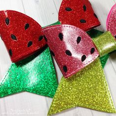 Embroidered Cheer Bow, Watermelon Cheer Bow, Glitter Bow, Fruit Hair Accessories, Embroidered Bow, Hair Accesssories by SweetJellybeanMarket on Etsy https://www.etsy.com/listing/514234814/embroidered-cheer-bow-watermelon-cheer