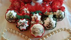 Red Christmas Tree Ornament/Quilted ball/Burlap quilted ball/Decoupage Christmas ornaments by AngelsHandmadeCrafts on Etsy