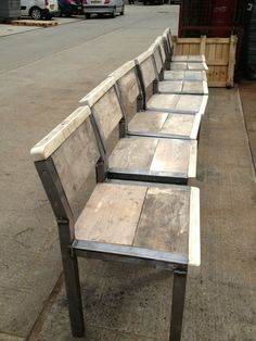 40mm box section tubular frame with recycled scaffolding board timber crafted into a rustic sturdy chair... Finished with linseed oil a natural, ecological, non toxic wood treatment that smells nut...