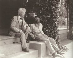 Sam Clemens [Mark Twain] and his friend and frequent companion at Quarry Farm John T. Lewis, photographed during the author's last visit to Elmira, in 1903. Lewis is thought to have been one of the models for Jim in Adventures of Huckleberry Finn.