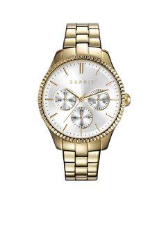 Esprit Time dameshorloge Essentials Gold ES108942002. Trendy Esprit dameshorloge, een sieraad aan uw pols. De stalen goudkleurige kast heeft een leuk vormgegeven kastrand, een witte wijzerplaat met chronolook en een stalen band.