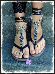 Yogi BUDDHA BAREFOOT sandals Black crochet Gypsy Sandals by GPyoga, $96.00