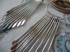 Silver tone earrings dangle long statement earrings by mmgem, $28.00