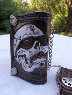 Hand Tooled Leather Chain Wallet For Bikers and  Men, Great Christmas Gift on Etsy, $160.00