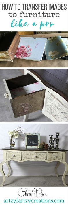 How to Transfer images and graphics to furniture like a pro. Free tutorial on how to decoupage and add scrapbook paper and images to furniture drawers. Other furniture tips include fixing furniture legs and removing paint. Furniture Flipping tips by Cheryl Phan of ArtzyFartzyCreations.com
