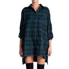 Plaid Flannel Shirt Dress Green (€30) ❤ liked on Polyvore featuring dresses, shirts, tops, outfits, blue dress, button up dress, plaid flannel dress, flannel shirt dress and blue green dress