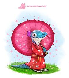 Daily Paint #1194. Kimono Dragon by Cryptid-Creations.deviantart.com on @DeviantArt