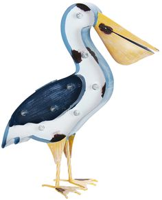 An awesome solar-powered Pelican statue with marquee lights that turn on automatically at dusk!
