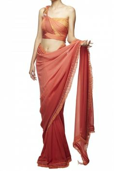 Tea rose & red shaded saree