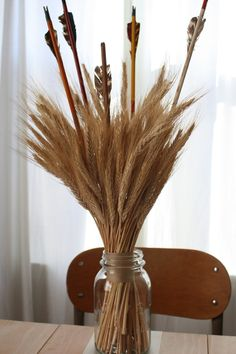 Wheat and arrow Thanksgiving centerpiece