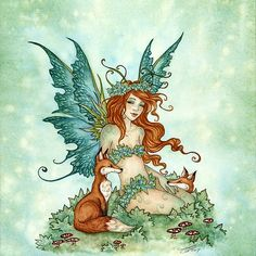 Fox Friends by Amy Brown - such a sweet fairy I love most of Amy Brown art I just wish she put more clothes on her fairies Browning Tattoo, Brown Art, Faeries, Amy Brown Fairies, Dark Fairies, Dragons, Magical Creatures, Fantasy Creatures, Fairy Pictures