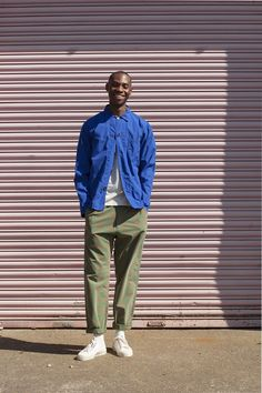 Bakers Overshirt in poplin, Vacation Polo in piquet, Track Trouser in bermuda check, UW X Novesta on the feet Workwear Fashion, Mens Fashion, Work Jackets, Men Street, Urban Fashion, Work Wear, Men Casual, Menswear, Street Style