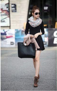 Elegance Long Sleeve Slim Flouncing Nip Waisted Dress Black on BuyTrends.com $19.96