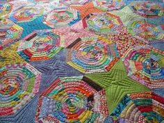 Love the color stars between spider web! Andie's Quilt by Sew Kind of Wonderful, via Flickr