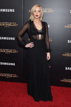 WHO: Jennifer Lawrence  WHAT: Schiaparelli Couture  WHERE: The Hunger Games: Mockingjay, Part 2 New York premiere  WHEN: November 18, 2015