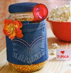 Tin Can Crafts, Jar Crafts, Bottle Crafts, Crafts To Make, Arts And Crafts, Denim Crafts, Upcycled Crafts, Crafts With Glass Jars, Recycled Jars