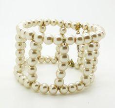 Vintage Miriam Haskell Glass Pearl Bracelet, Large Bracelet - Vintage Lane Jewelry - 1