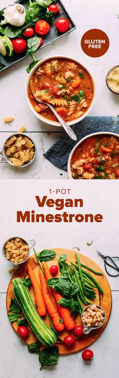 PERFECT 1-Pot Vegan Minestrone! Vegetables, beans, pasta, SO delicious and healthy! #minestrone #soup #recipe #vegan #glutenfree #minimalistbaker