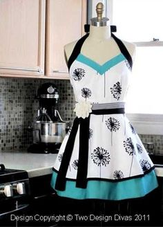 ShopHandmade - Women's Apron - Kitchen Apron - Halter with Double Skirt - Apron