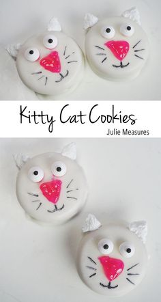 Celebrate your favorite feline! Easy to make Kitty Cat Cookies. Cat Cookies, Yummy Cookies, Homemade Cookies, Cat With Blue Eyes, Cat Makeup, Mini Marshmallows, Yummy Eats, Melting Chocolate, Kids Meals
