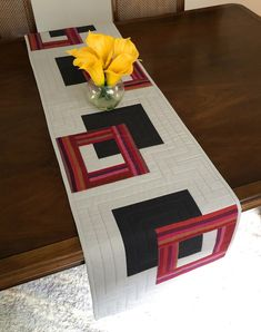 Modern Quilted Table Runner, Grey and Burgundy Wallhanging, Reversible Tablerunner, Modern Table Decor, Modern Quilted Table Runner by FabriArts on Etsy Fiber Art Quilts, Invisible Stitch, Quilted Table Runners, Modern Table, Table Toppers, Table Linens, Quilt Making, Decorating Your Home, Printing On Fabric
